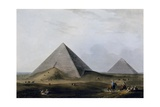 First and Second Pyramid of Giza, Engraving Giclee Print by Luigi Mayer