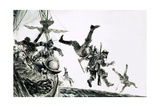 The Earl of Cumberland, Pirate, Boards a Portuguese Carrack Giclee Print by Graham Coton