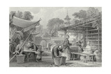 Feeding Silkworms and Sorting Cocoons Giclee Print by Thomas Allom