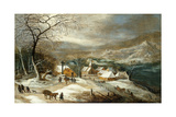 A Winter Landscape, with Figures on a Road by a Village Giclee Print by Joos or Josse de, The Younger Momper
