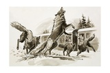 Passengers in a Snowbound Train Fight Off Starving Wolves Giclee Print by Ralph Bruce