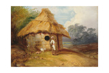 View in Southern India, with a Warrior Outside His Hut, C.1815 Giclee Print by George Chinnery