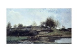 Sluice in Optevoz Valley, 1855 Giclee Print by Charles Francois Daubigny