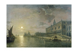 Moonlit View of the Bacino Di San Marco, Venice, with the Doge's Palace Giclee Print by Henry Pether