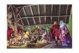 Anglo-Saxon Thane Leads His Wife into the Great Hall Impressão giclée por Peter Jackson