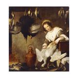 La Cuoca - a Kitchen Maid Plucking a Goose in an Interior Giclée-tryk af Bernardo Strozzi