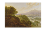 Mountainous River Landscape with Peasants Resting by a Path Giclee Print by Jan Griffier