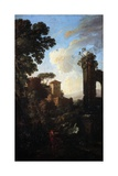 Landscape with Ruins and Painter Giclee Print by Andrea Locatelli