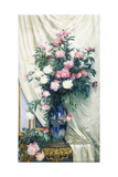 Peonies in a Blue Vase on a Draped Regency Giltwood Console Table Giclee Print by Albert Aublet