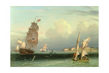 Ship Going Out, Fort Independence, Boston Harbour, 1832 Giclee Print by Robert Salmon