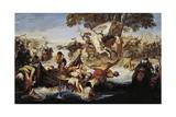 Giovanni Delle Bande Nere's Army Crossing Adda Giclee Print by Giuseppe Bezzuoli