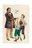 The Wright Brothers as Boys, Given a Toy Plane by their Father Giclee Print by Peter Jackson