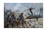 French Troops Rest Amid Ruins of a Church at Dompierre, 1916 Giclee Print by Francois Flameng
