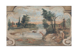 Scene of Country Life - River Landscape with Bathers Lámina giclée por  Guercino
