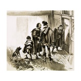 A Group of Tax Collectors Vainly Hammering on William Shakespeare's Door Giclee Print by Neville Dear