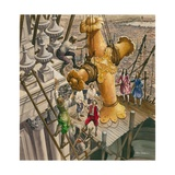 The Golden Cross Being Placed on the Top of St Paul's Cathedral Giclee Print by Peter Jackson