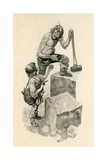 Michelangelo, as a Boy, Helping Stone-Cutters at their Work Giclee Print by Peter Jackson