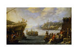 Genoese Troops Boarding Galen in Port of Genoa Giclee Print by Cornelis De Wael