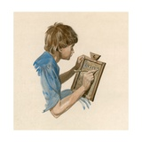 Julius Caesar, as a Boy, Learning to Write Using a Wax Tablet Giclee Print by Peter Jackson