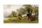 Cattle in a Farmyard Along a River with a Fisherman Beyond, 1881 Giclee Print by Friedrich Johann Voltz