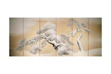 Pines in Snow, Decoration from Six-Panel Screen Giclee Print by Maruyama Okyo