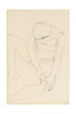 Female Nude Bent Forward, Both Hands on the Left Thigh, 1913 Giclee Print by Egon Schiele