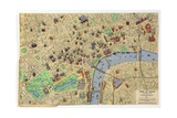 Map of the Heart of London, Published by Francis Chichester Giclee Print