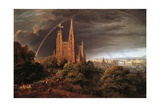 Medieval City on Banks of River Giclee Print by Karl Friedrich Schinkel