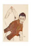 Self Portrait in a Jerkin with Right Elbow Raised, 1914 Giclee Print by Egon Schiele
