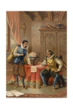 Johannes Kepler and Tycho Brahe at the Prague Observatory, C1600 Wydruk giclee