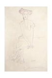 Young Woman, Supporting Herself with Her Hands, 1908 Giclee Print by Gustav Klimt