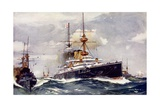 "The ""Majestic."" Flagship of the Channel Squadron, 1901 Giclee Print by Charles Edward Dixon"