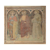 St Anthony the Abbot, St John the Baptist and St Stephen, 1345 Giclée-tryk af Pietro Lorenzetti
