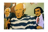 Cartoon of Picasso, Dali and Miro in a Shop Entrance Giclee Print