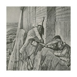 A Narrow Escape for Sir Henry Rawlinson at the Rock of Behistun Giclee Print by Richard Caton II Woodville