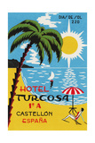 Luggage Label Advertising the Spanish Hotel Turcosa, Printed C.1962 Giclee Print
