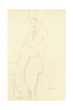 Nude Standing Left, Holding a Towel to the Body, 1917 Giclee Print by Gustav Klimt