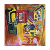 Kitchen of Mountain Cabin Giclee Print by Ernst Ludwig Kirchner