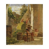 Rustic Loggia, Country Study Triptych, 1861 Giclee Print by Silvestro Lega