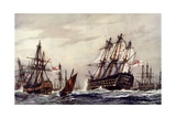 "Bomb Ketches Saluting the ""Victory,"" December, 1805 Giclee Print by Charles Edward Dixon"