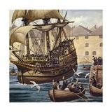 Westward Ho! the Mayflower Leaves Plymouth Ho on 16 September 1620 Giclee Print by Mike White