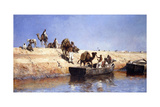 An Embarkment of Camels on the Beach at Sale, Maroc, 1880 Giclee Print by Edwin Lord Weeks