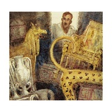 Howard Carter Discovered the Lost Burial Chamber of Tutankhamen Giclée-tryk af John Millar Watt
