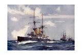 "The ""Revenge"" Leading the Lee Line of the Reserve Squadron, 1901 Giclee Print by Charles Edward Dixon"