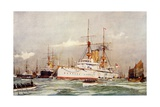 "The ""Centurion."" Sir Edward Seymour's Flagship in the Far East, 1900 Giclee Print by Charles Edward Dixon"