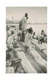 Parsis Worshipping the Rising Sun on the Beach at Bombay Giclee Print by Walter Stanley Paget