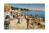 Postcard Depicting the Beach at Juan-Les-Pins, France C.1930 Giclee Print
