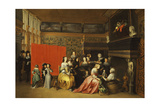 Ladies Celebrating the Birth of a Child in an Elegant Boudoir Giclee Print by Hieronymus Janssens