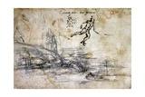 Landscape, Profile and Male Figure Giclee Print by  Leonardo da Vinci