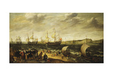 Men-Of-War Sailing Out of an Estuary with Figures in the Forground Giclee Print by Adam Willaerts